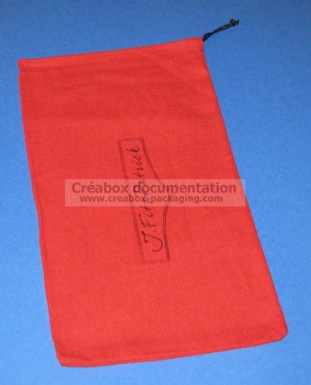 pochon coton gratté rouge